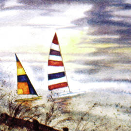 Hobie Cats on Hatteras  by Catherine Ludwig Donleycott