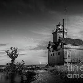 Holland Harbor Lighthouse, Michigan, Black and White by Liesl Walsh