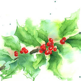 Holly twig with red berries
