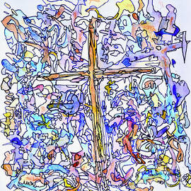 Holy Cross - Stained Glass - Abstract Painting by Patty Donoghue