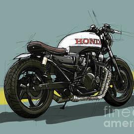 Honda CB750 Original Drawing by Drawspots Illustrations