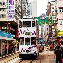 Hong Kong Tram On The Tracks by Paul Thompson