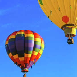 Two Colorful Hot Air Balloons In Colorado
