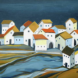 Houses along the stream by Aniko Hencz