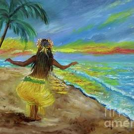 Hula on the Beach at Sunset by Jenny Lee