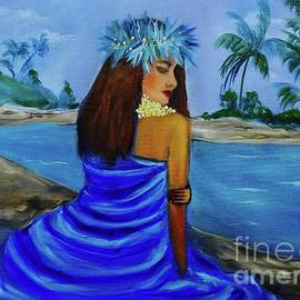Hula on the Beach Blue by Jenny Lee