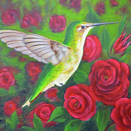 Hummingbird and Roses by Jimmie Bartlett
