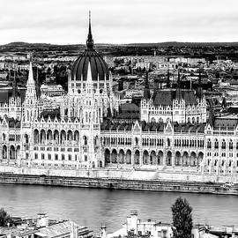 Hungarian Parliament in Budapest in Black and White by Kay Brewer