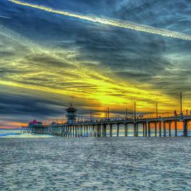 Huntington Beach Pier Sunset Reflections 8 California Surfing 7 Seascape Art by Reid Callaway