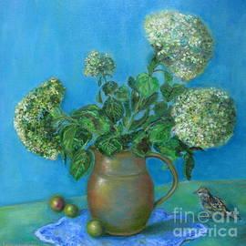 Hydrangea Blue Still Life And A Sparow by Katia Ricci