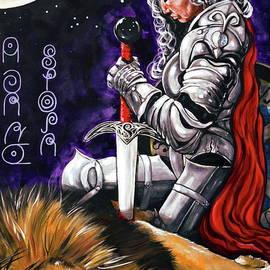 I Am The Storm Jackie Carpenter Self Portrait Lion Leo Aries Warrior Female Moon Woman Sword Armor  by Jackie Carpenter