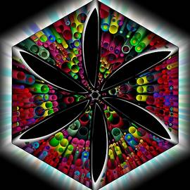 Illumination Smudged Geometric Flower Stain Glass by Joan Stratton