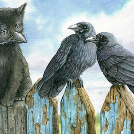 Incognito - black kitten and crows by Linda Apple