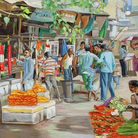 India flower market street vertical version by Dominique Amendola