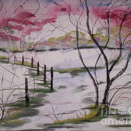 ON MY WAY -- Red Bud Trees in North Carolina  by Catherine Ludwig Donleycott