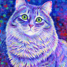 Iridescence - Colorful Gray Tabby Cat by Rebecca Wang