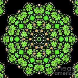 Irish Saint Patrick's Day Shamrock and Beer Mandala Abstract 2 by Rose Santuci-Sofranko