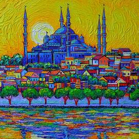 ISTANBUL SKYLINE AT SUNSET BLUE MOSQUE commissioned painting abstract cityscape Ana Maria Edulescu by Ana Maria Edulescu
