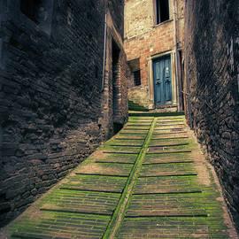 Italian narrow alley, Urbino, Marche, Italy. by Casimiro Art