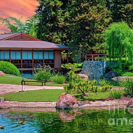 Japanese Garden House and Pond by David Zanzinger