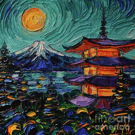 JAPANESE PAGODA AND MOUNT FUJI palette knife oil painting Mona Edulesco by Mona Edulesco
