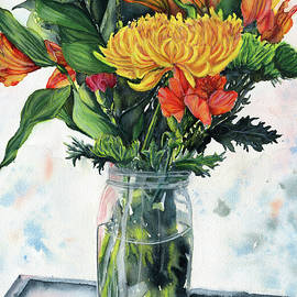Jar of Flowers Still Life by Christina Kabat