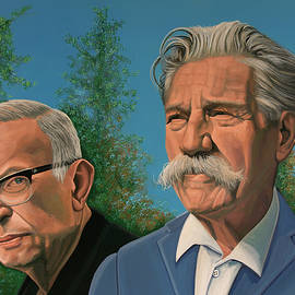 Jean-Paul Sartre and Albert Schweitzer Painting by Paul Meijering