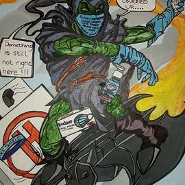 Jenksies Green goblin pandemic acrylic painting  by John Jenkins