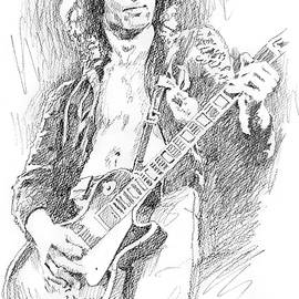 Jimmy Page's Les Paul Sketch by David Lloyd Glover