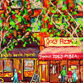 Joe's Pizza And Bagels On The Square Greenwich Village C Spandau Paints Best Nyc Diners American Art by Carole Spandau