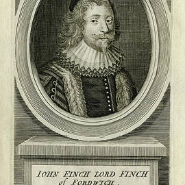 John Finch, 17th century Speaker of the House of Commons - scan of antique engraving by Terence Kerr