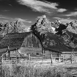 John Moulton Barn and Tetons - Classic Black and White by Stephen Stookey