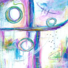 Just the Three of Us, Abstract Expressionist Painting by Itaya Lightbourne