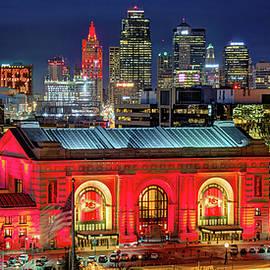 Kansas City Skyline NIGHT KC Union Station Chiefs Red Panoramic by Jon Holiday