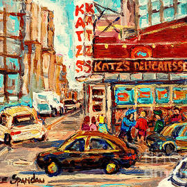 Katzs Delicatessen Famous New York Sandwich Shops Paintings Best Manhattan Eateries C Spandau Artist by Carole Spandau