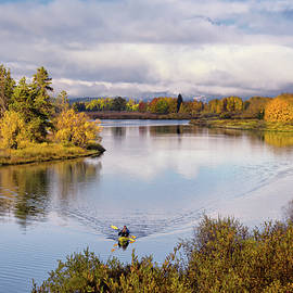 Kayakers on the Oxbow of the Snake River  by Kathleen Bishop
