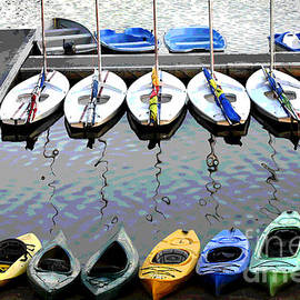 Kayaks Waiting For Riders by Carol Lowbeer