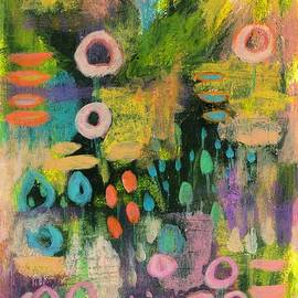 Keeping the Faith 2 Abstract Landscape Painting Flowers by Itaya Lightbourne