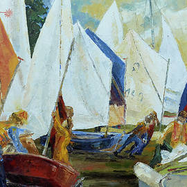 Kids Rigging Their Boats For Sail Training by Barbara Pommerenke