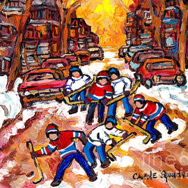 Kids Road Hockey Fun Montreal Winter Scene Neighborhood After The Snow C Spandau Canadian Artist  by Carole Spandau