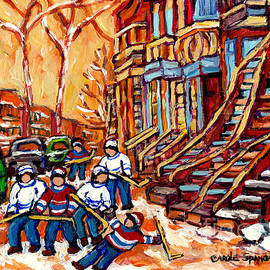 Kids Street Hockey Art Montreal Winter Scenes Colorful Winding Staircases C Spandau Canadian Artist by Carole Spandau