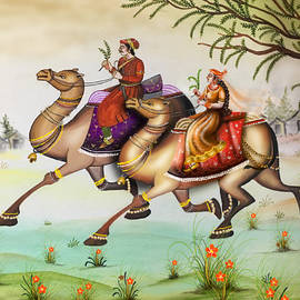 King and queen riding on a camel by Anjali Swami