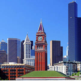 King Street Station, Seattle City Skyline by Douglas Taylor