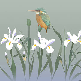 Kingfisher and Iris by Spadecaller