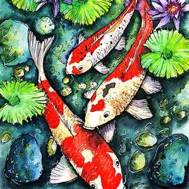 Koi Fish among Lotus Flowers by Tanya Gordeeva