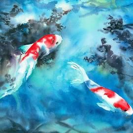 Koi in Blue by Hiroko Stumpf