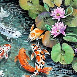 Koi pond feeding time by Pechez Sepehri