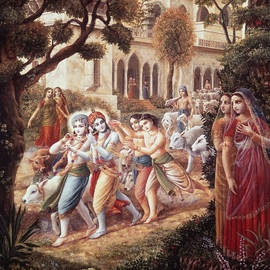 Krishna And Balarama Take The Cows To The Pastures by Dominique Amendola