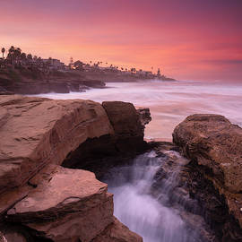 La Jolla Cliffs and Colorful Sunrise by William Dunigan