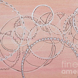 Lace and Gears -Watercolor Abstract by Patty Donoghue